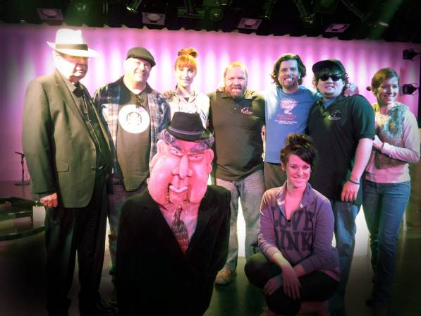 "Pictured L to R: Richard ""The Old Man"" Harrison, Rick Harrison, Kady Heard (dancer/showgirl), Sean Critchfield (lead, plays Slick Garrison), Enoch Scott (""Old Fart"" puppeteer/multiple roles), Garret Harbison (plays Chump), Anita Bean (multiple roles), Sydney Kounkel (dancer/showgirl)."