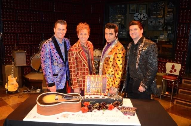 Cast Members Robert Britton Lyons, Martin Kaye, Justin Shandor and Benjamin D. Hale 2; First Anniversary 2.19.14 ©Caesars Entertainment