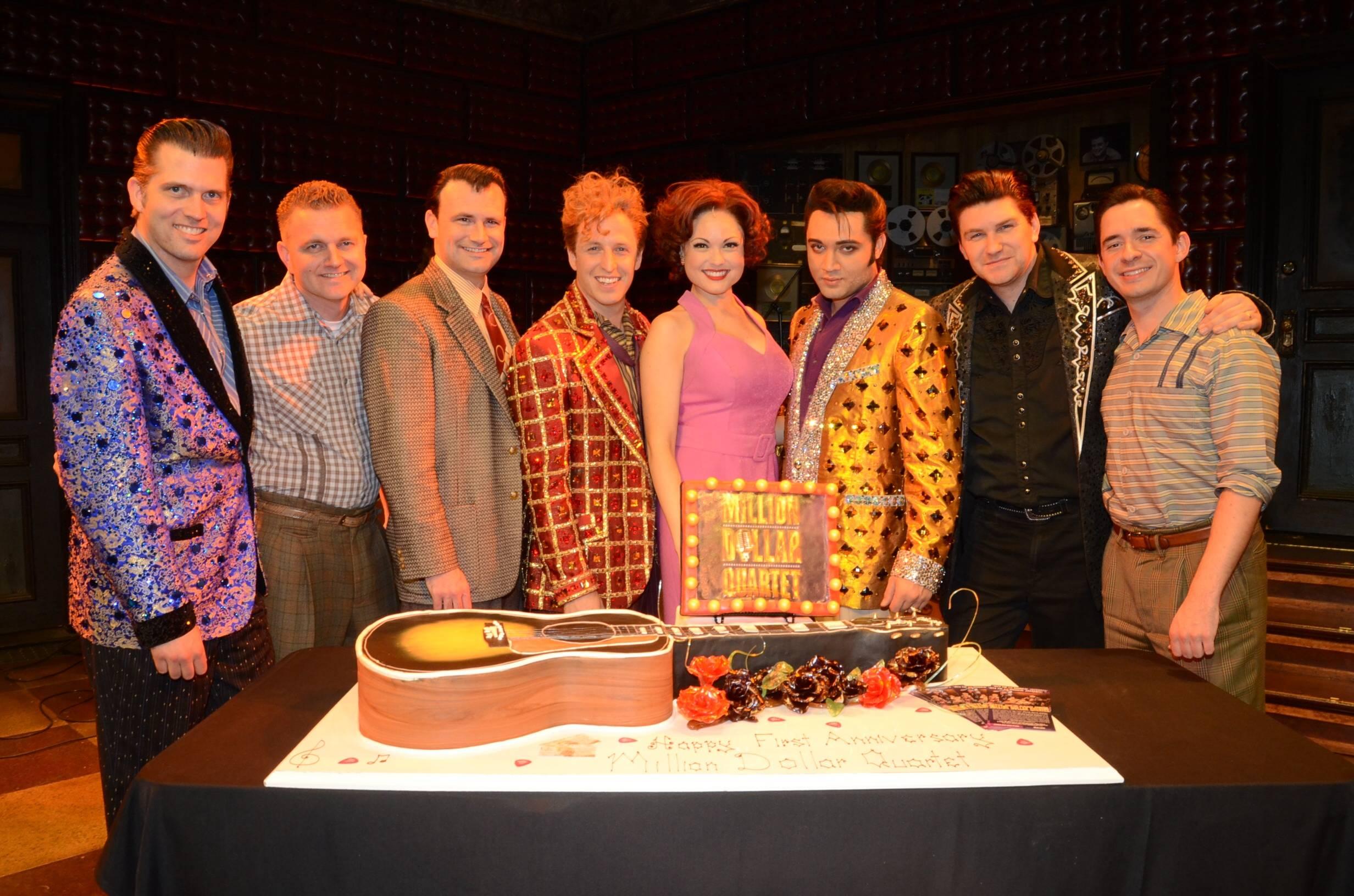 Cast of Million Dollar Quartet Las Vegas 2; First Anniversary 2.19.14 ©Caesars Entertainment