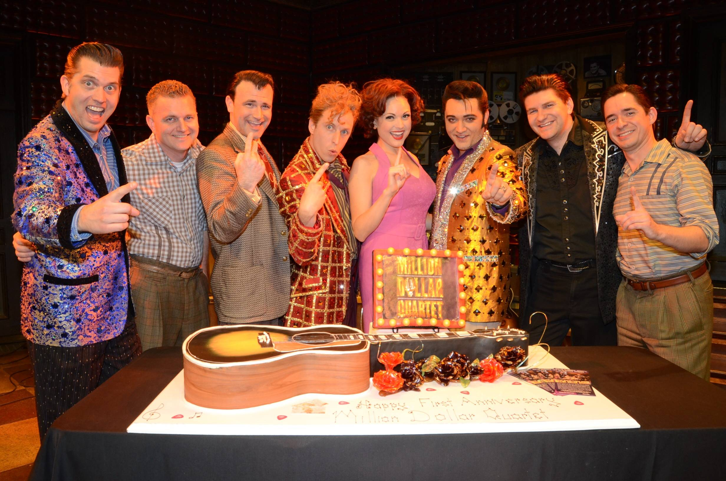 Cast of Million Dollar Quartet Las Vegas; First Anniversary 2.19.14 ©Caesars Entertainment