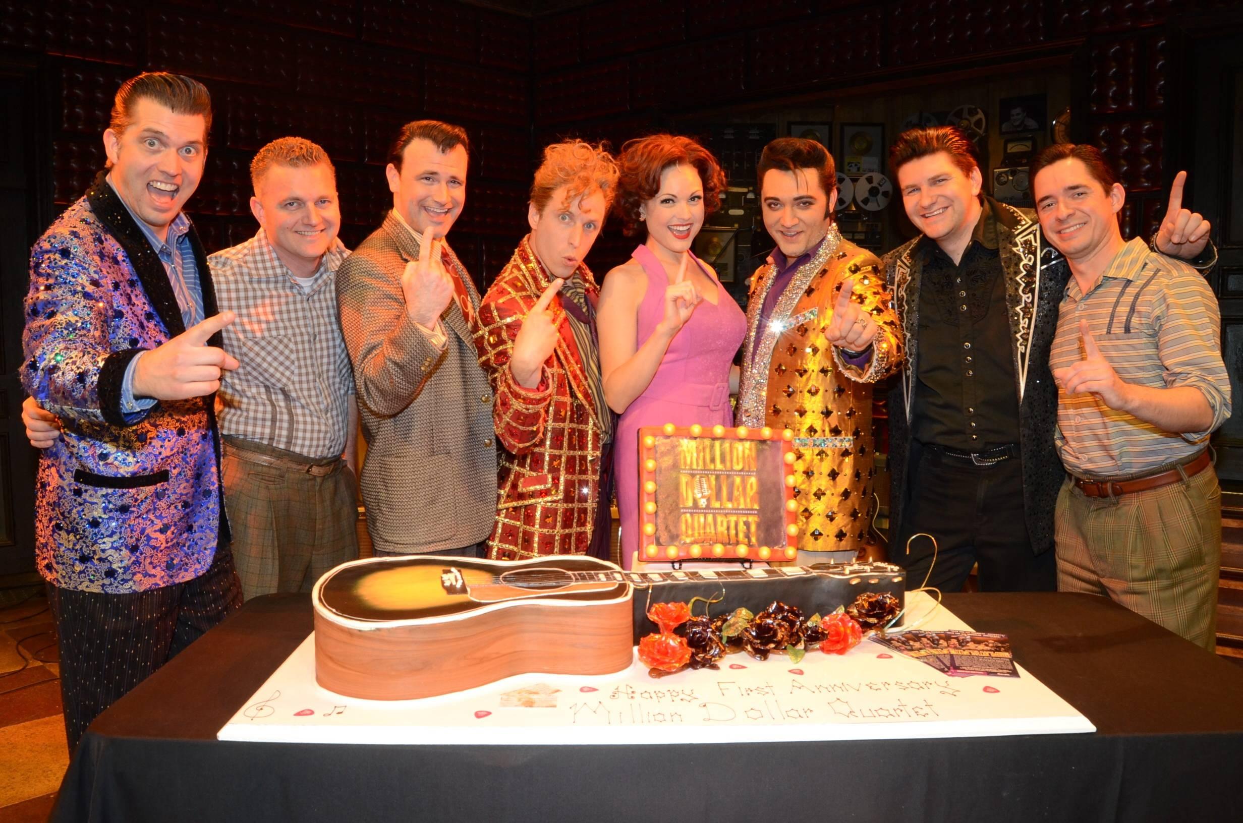 Cast of Million Dollar Quartet Las Vegas; First Anniversary 2.19.14 ©Caesars Entertainment