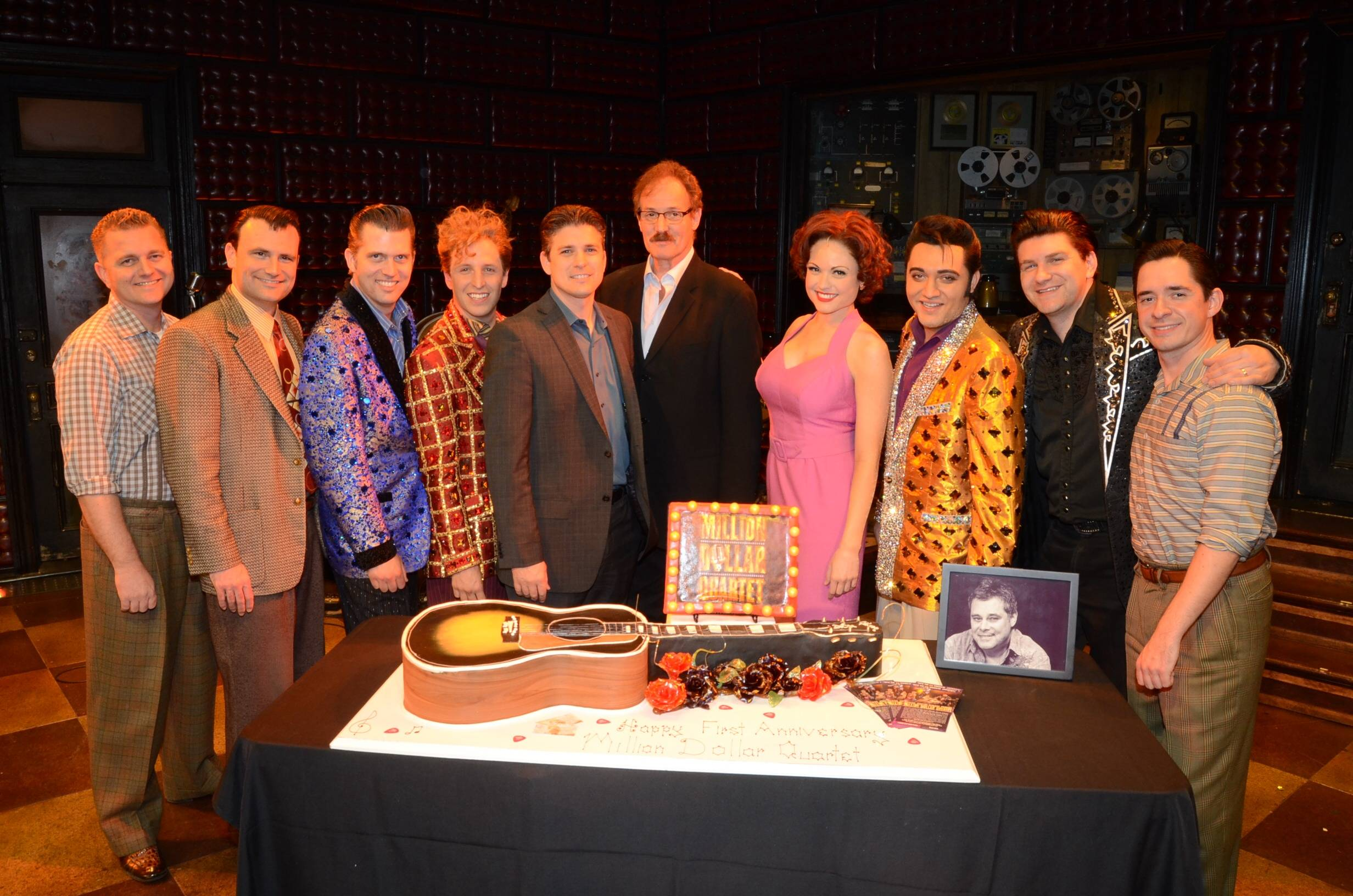 Cast of Million Dollar Quartet Las Vegas with Caesars Entertainment Executive Damian Costa and Ted Rawlins 2; First Anniversary 2.19.14 ©Caesars Entertainment