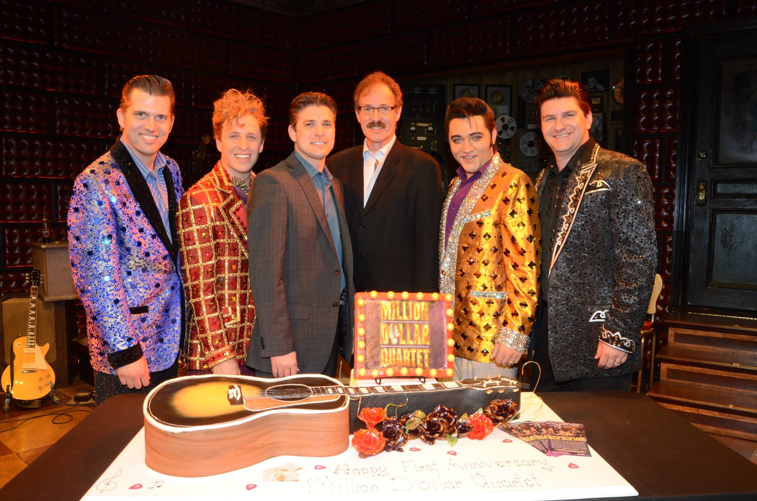 Cast of Million Dollar Quartet Las Vegas with Caesars Entertainment Executive Damian Costa and Ted Rawlins 3; First Anniversary 2.19.14 ©Caesars Entertainment