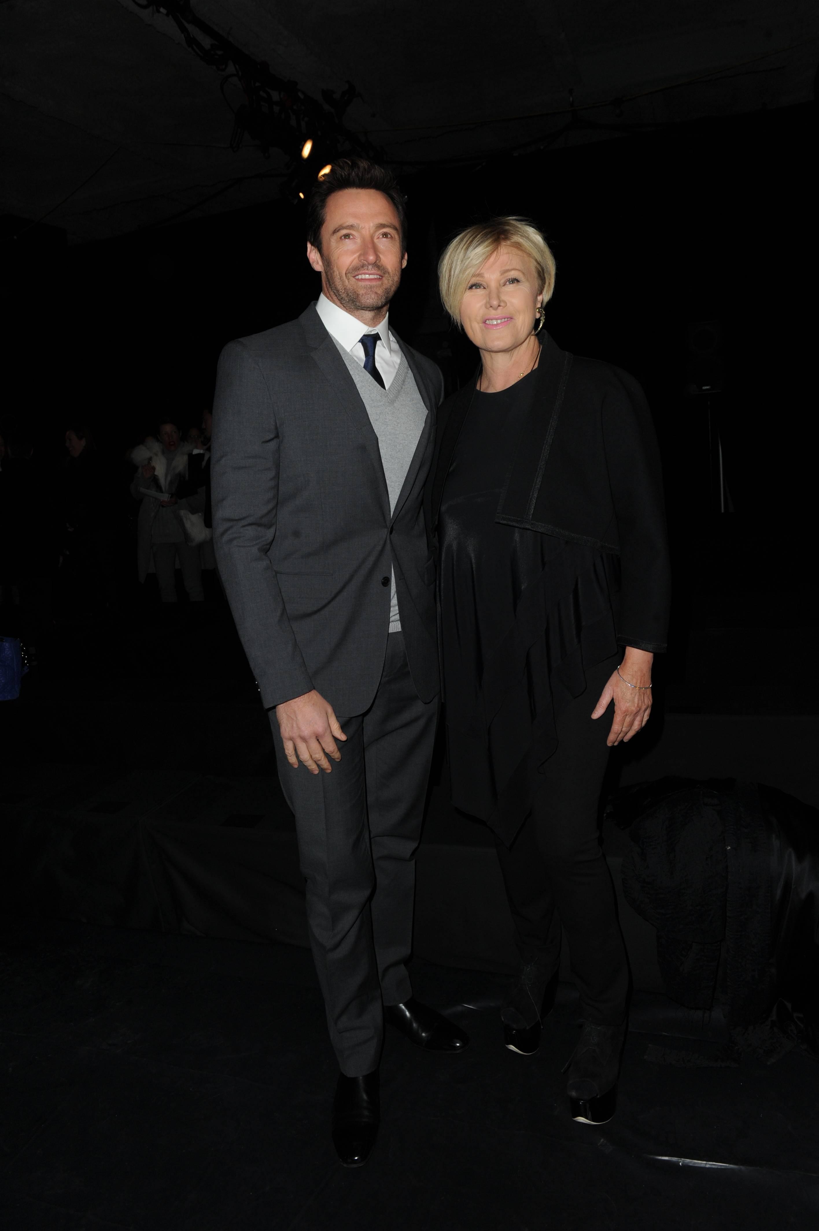 Hugh Jackman Donna Karan fall 14 runway