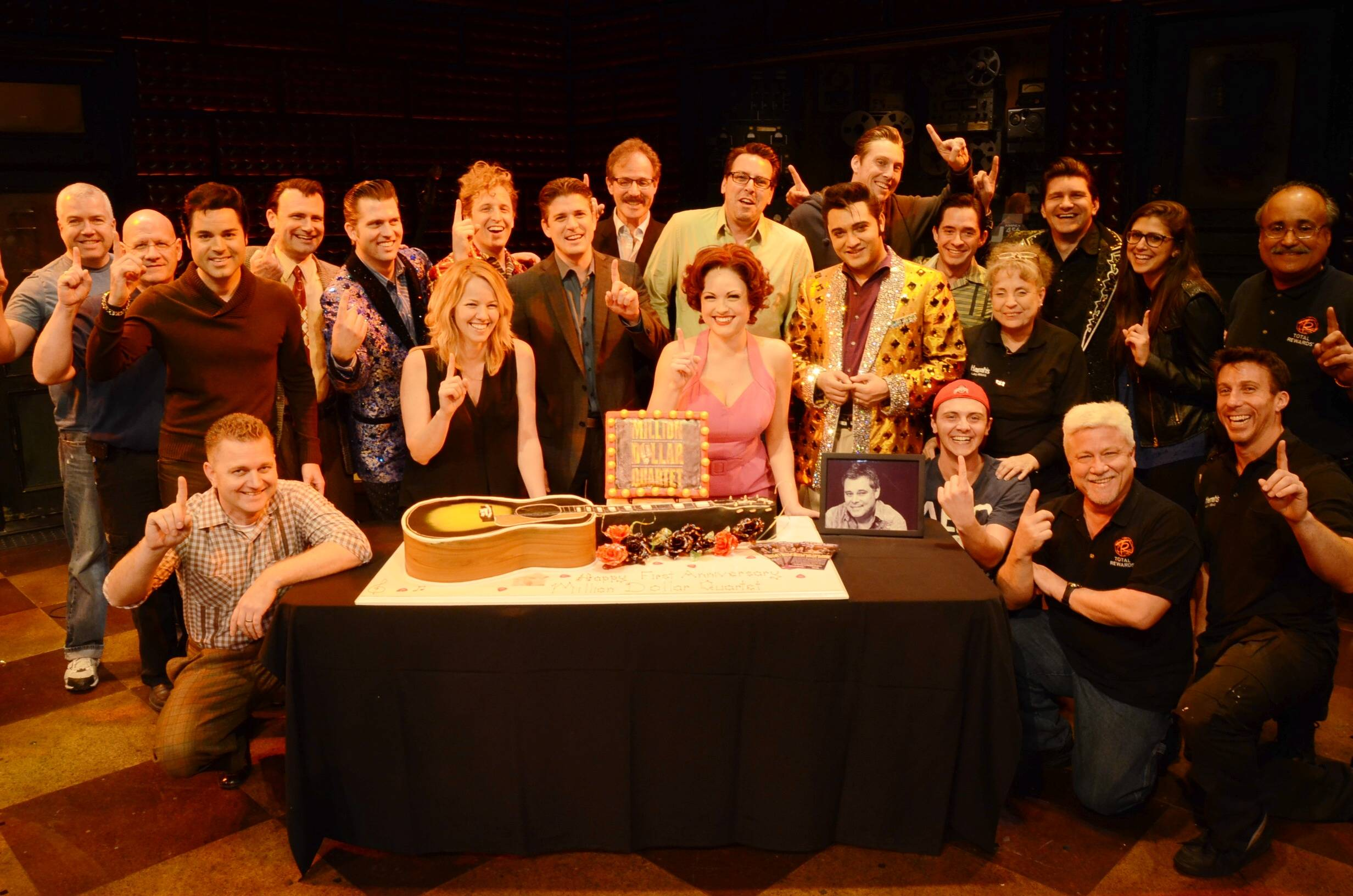 Full Million Dollar Quartet Las Vegas Company 2; First Anniversary 2.19.14 ©Caesars Entertainment