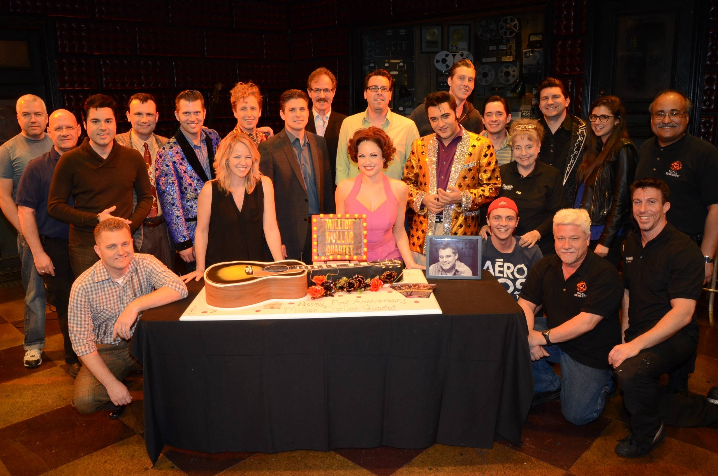 Full Million Dollar Quartet Las Vegas Company; First Anniversary 2.19.14 ©Caesars Entertainment