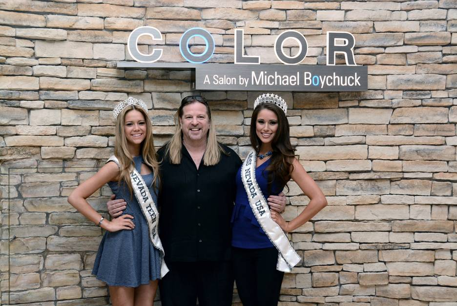 Miss Nevada Teen USA Alexa Taylor, Michael Boychuck and Miss Nevada USA Nia Sanchez