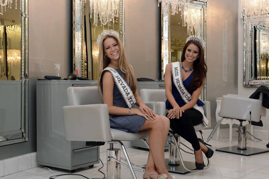 Miss Nevada Teen USA Alexa Taylor and Miss Nevada USA Nia Sanchez at COLOR Salon