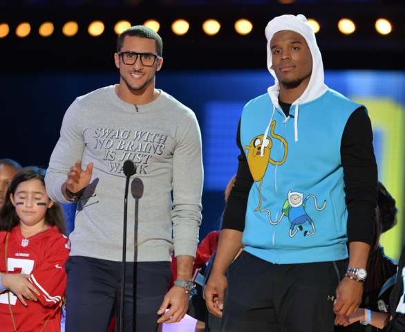 Cam Newton & Colin Kaepernick On Stage   Credit:  Getty courtesy of Cartoon Network