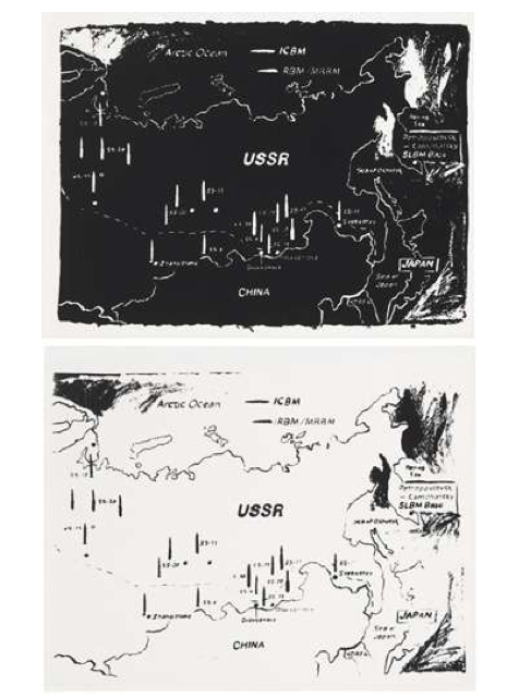 ANDY WARHOL (1928-1987) Map of Eastern U.S.S.R. Missile Bases 1984-1985 (Black) Map of Eastern U.S.S.R. Missile Bases 1984-1985 (White)