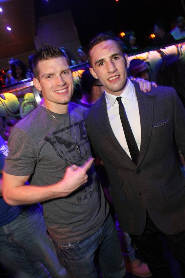 UFC Fighters Stephen Thompson and Rory McDonald celebrating at The Bank at Bellagio after their wins at UFC 170 on Saturday.
