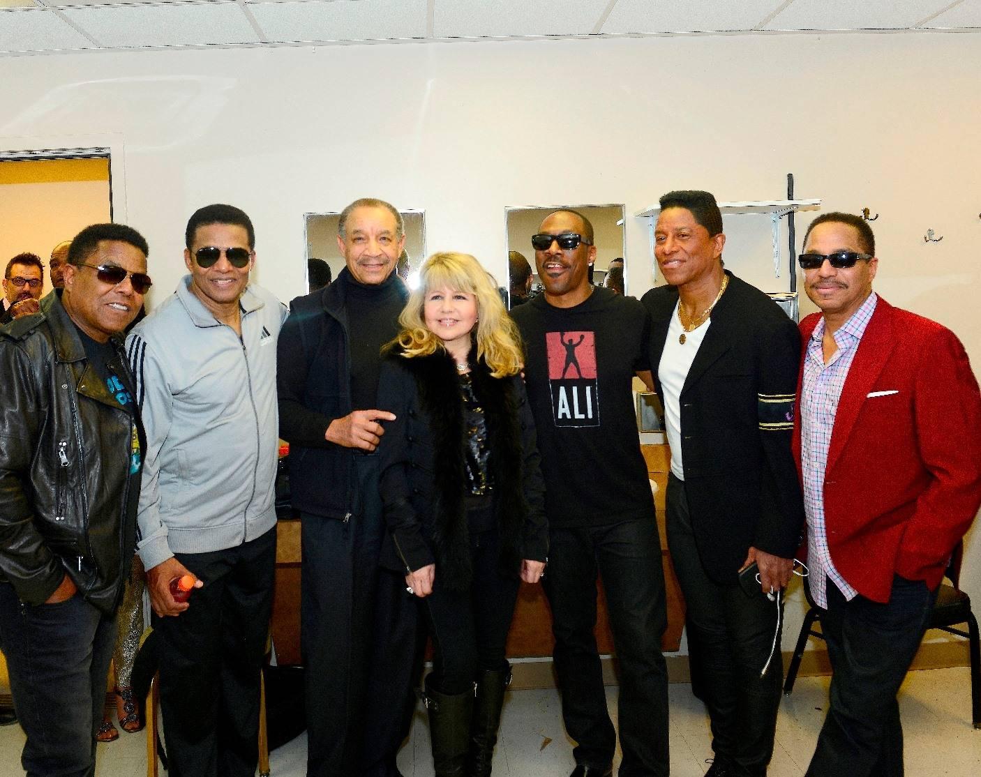 Tito, Jackie, Lamont McLemore, Pia Zadora, Eddie Murphy, Jermaine and Marlon - Photo credit Claude Van Heye