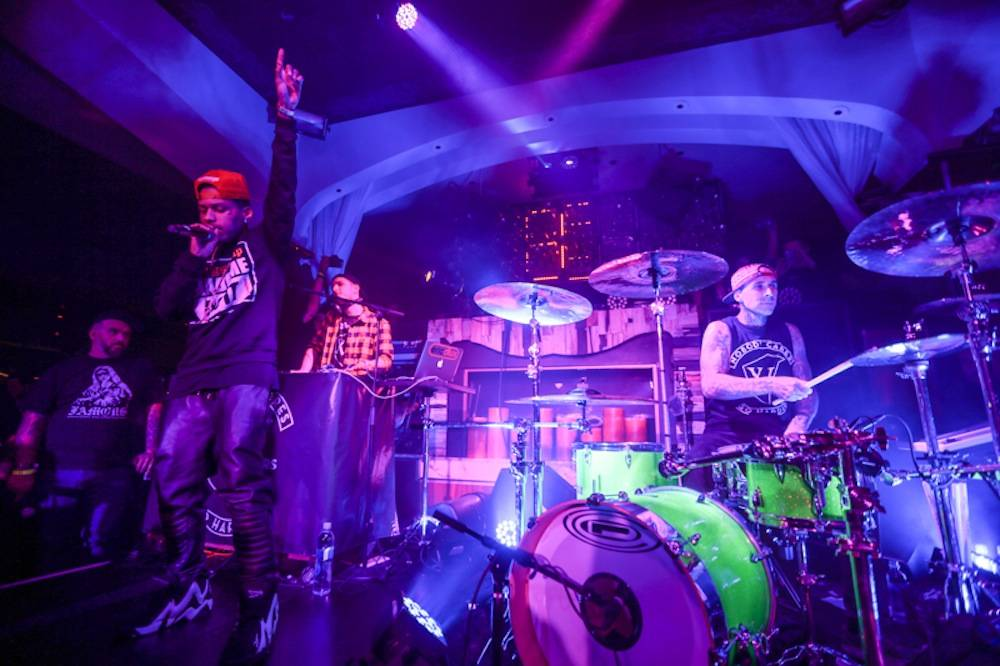Travis Barker and Kid Ink perform at Hyde Bellagio, Las Vegas, 2.19.14