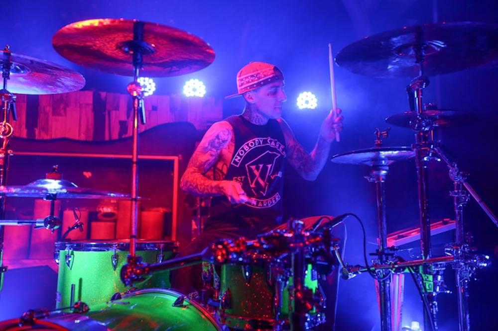 Travis Barker's drum set with rapper Kid Ink, Hyde Bellagio, Las Vegas, 2.18.14