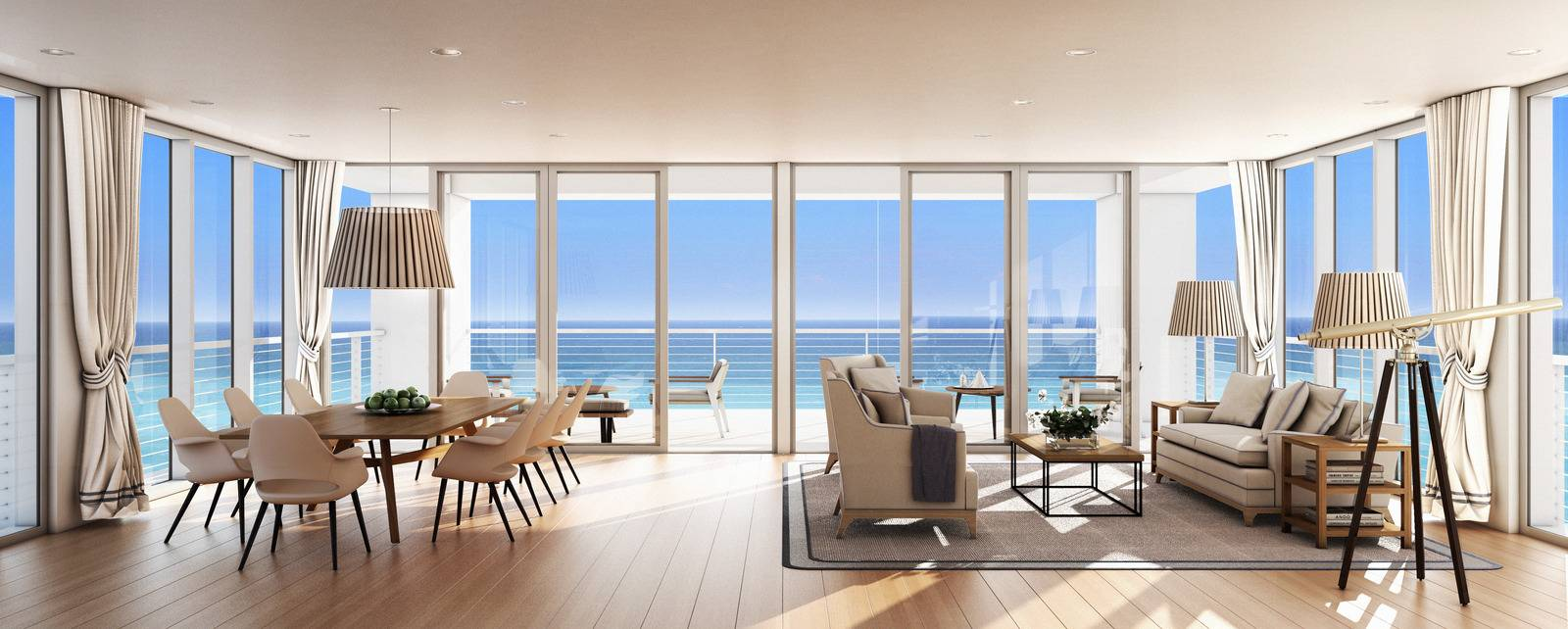 Beach house 8 partners with luxury attach haute living for Beach glass interior designs