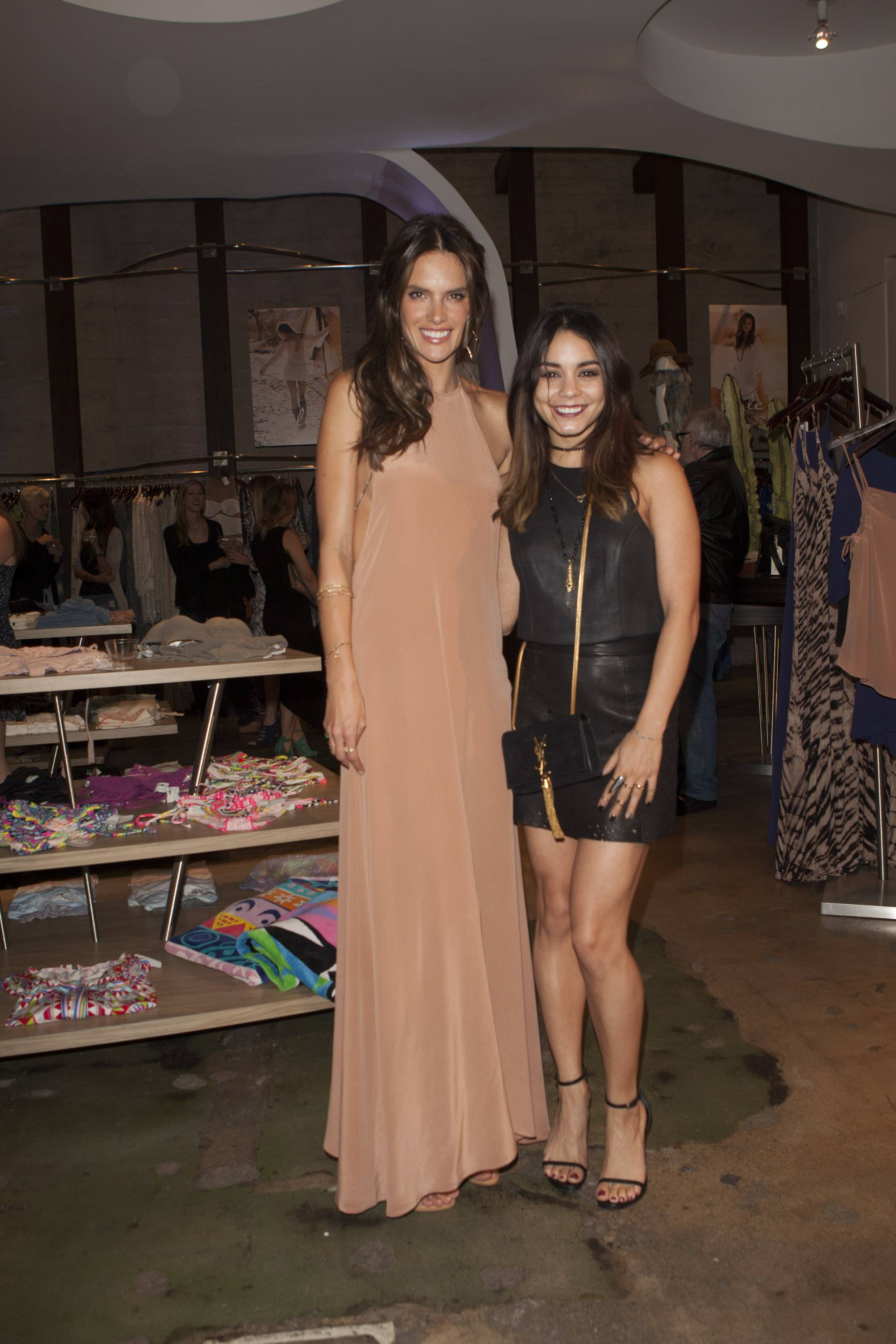 Alessandra Ambrosio and Vanessa Hudgens at the ále by Alessandra launch at Planet Blue