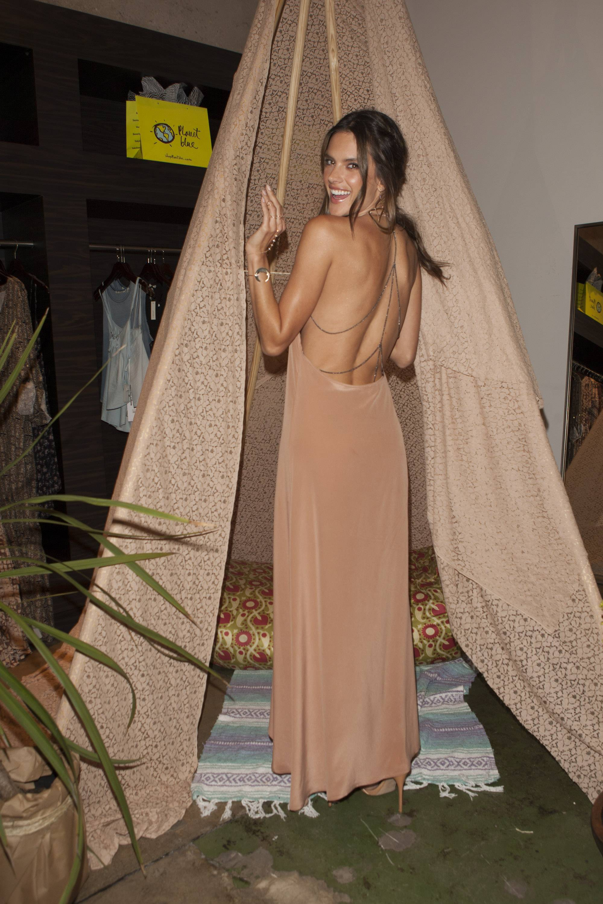 Alessandra Ambrosio in the tee-pee at her ále by Alessandra  launch at Planet Blue