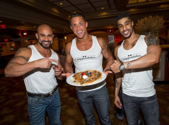Chippendales (from L to R): John Rivera, Matt Marshall, Alvester Martin Pictured with their Mint Chocolate CHIPPENDALE pancake. Photos: Erik Kabik