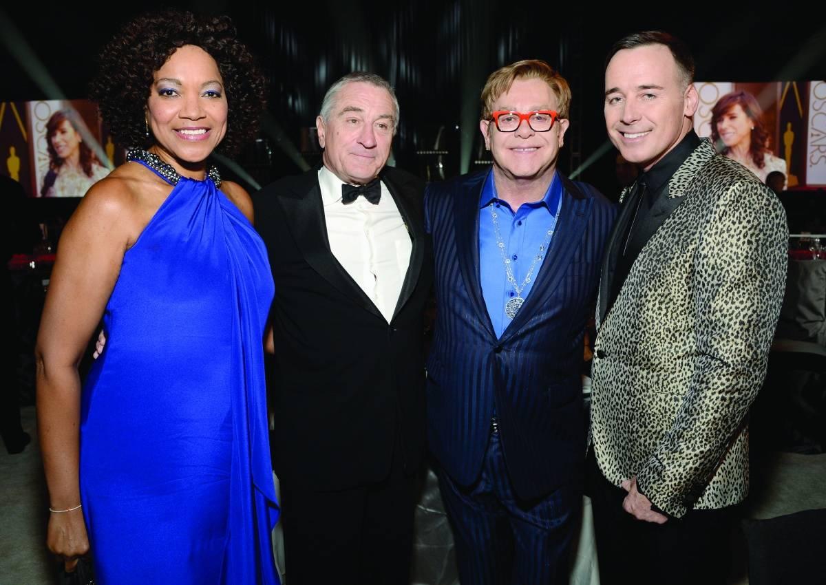 Grace Hightower, Robert de Niro, Elton John + David Furnish