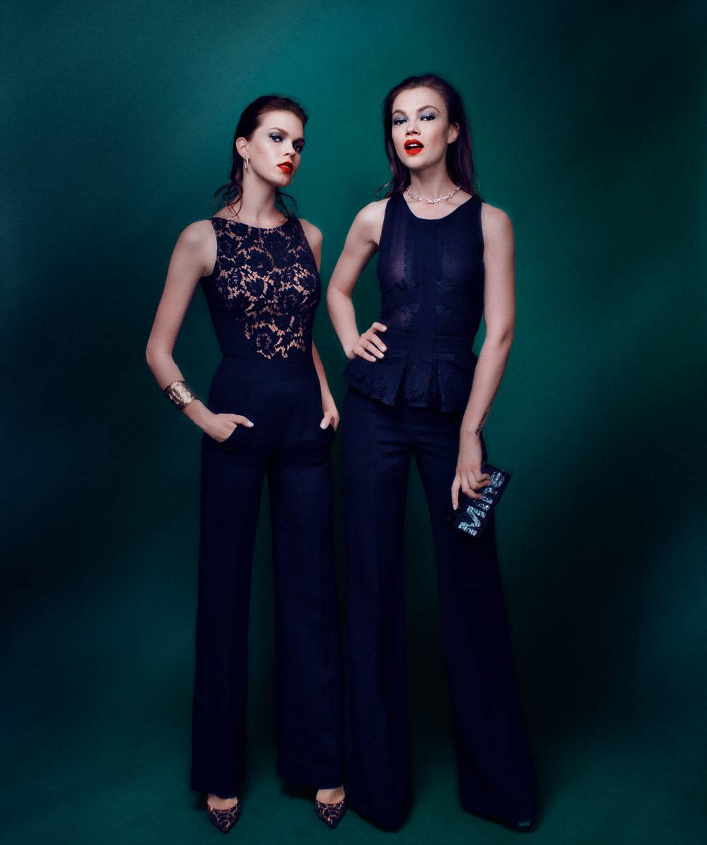 (Left) ELIE SAAB     Cady and lace jumpsuit ($3,075) available  at Neiman Marcus, 9700 Wilshire Boulevard, Beverly Hills, CA; (310) 550-5900 and 150 Stockton Street, San Francisco, CA;  (415) 362-3900. SERGIO ROSSI      Studded suede pump ($995) available  at sergiorossi.com. VAN CLEEF  & ARPELS     Perlée earrings featuring diamonds set in 18-karat white gold ($19,900) and  Jackie-O cuff bracelet set in 18-karat yellow gold ($36,100) available at Van Cleef & Arpels, 300 North Rodeo Drive, Beverly Hills, CA; (310) 276-1161 and vancleefarpels.com. (Right) ELIE SAAB     Crepe Cady and lace peplum jumpsuit ($3,860) available at eliesaab.com. EDIE PARKER      Acrylic clutch ($1,295) available  at neimanmarcus.com. VAN CLEEF  & ARPELS     Byzantine Alhambra necklace set in 18-karat white gold ($9,900) available at Van Cleef & Arpels, 300 North Rodeo Drive, Beverly Hills, CA; (310) 276-1161 and vancleefarpels.com.