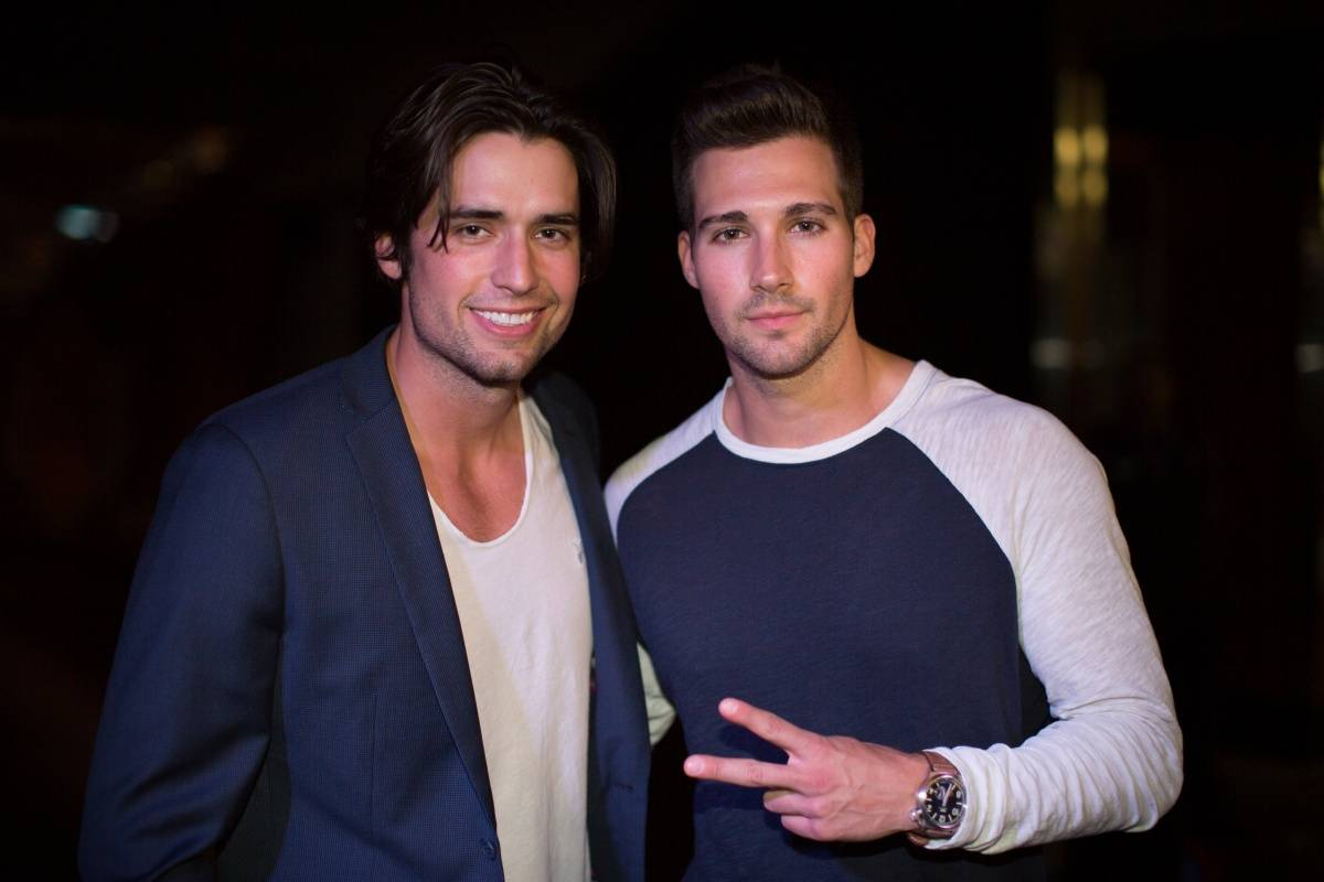 James Maslow and friend at the Lakers and Jimmy Choo Shopping Event benefitting Lakers Youth Foundation
