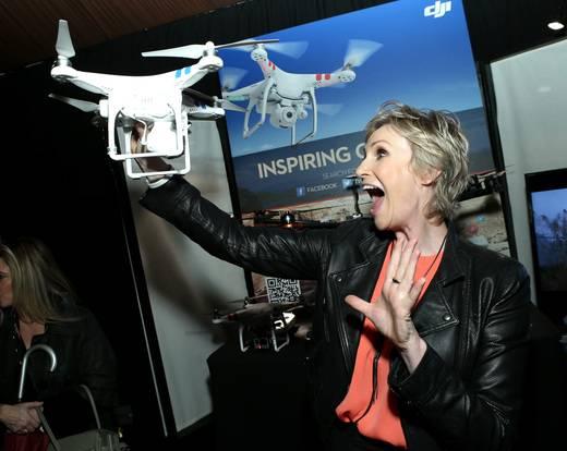Jane Lynch at the Breyers Gelato Indulgences lounge backstage at the Spirit Awards