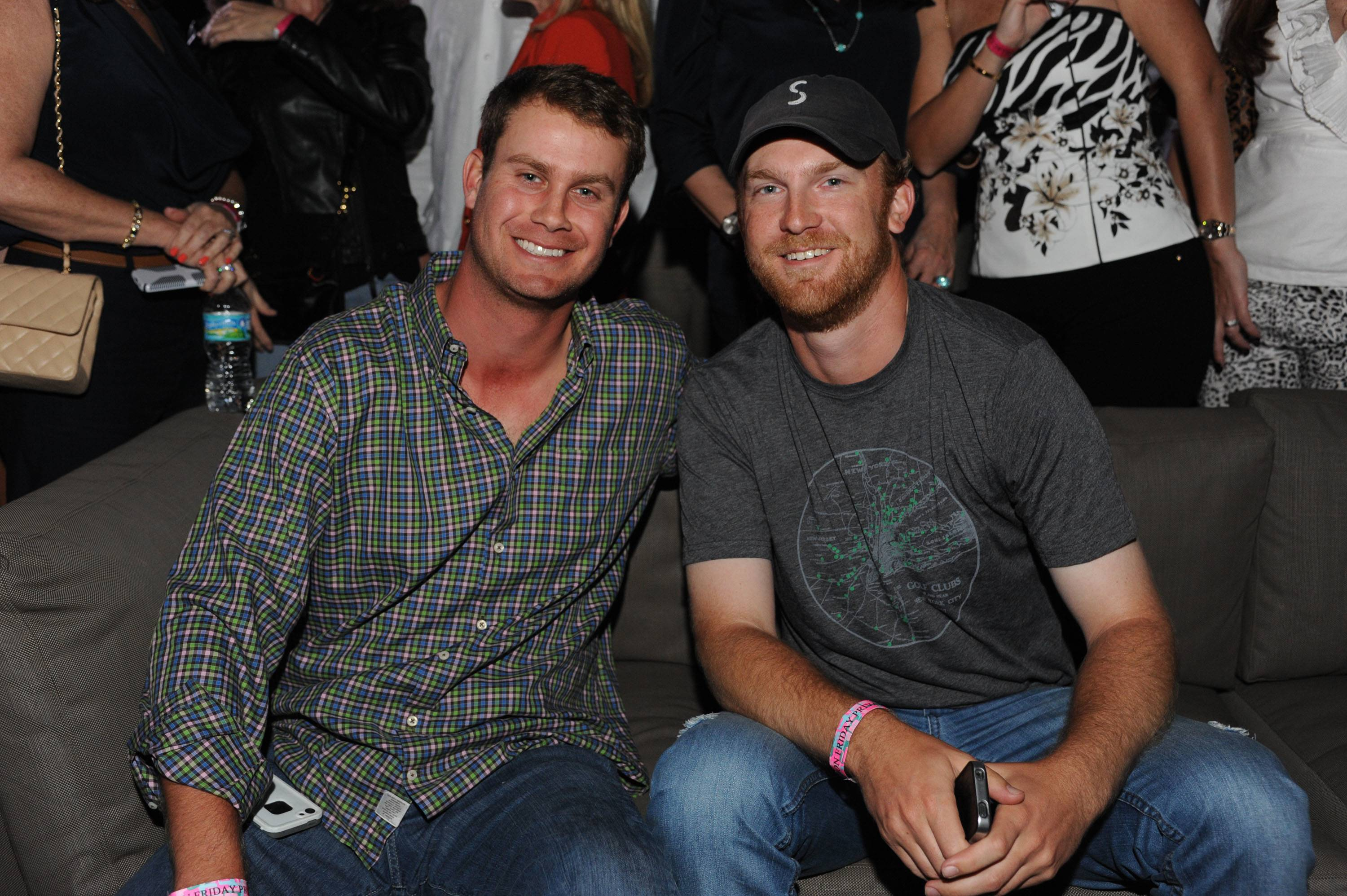 Professional Golfers Harris English and Golf Channel's TJ McGovern