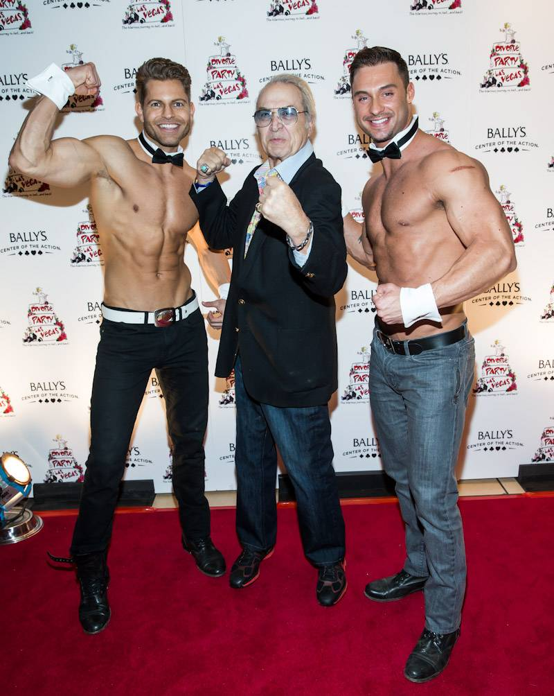 Steve Rossi poses with Chippendales (photo credit Erik Kabik_Retna)