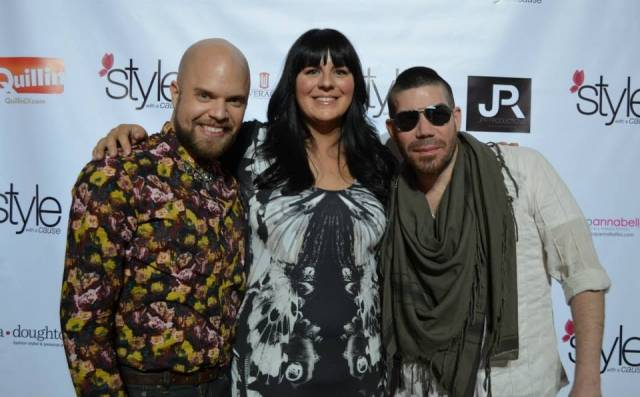 """Style with a Cause founder Jenna Doughton and """"Project Runway"""" stars Joshua Christensen and Carlos Casanova, pose on the red carpet at the style with a cause event on Friday, Feb. 28, at Fashion Show mall."""