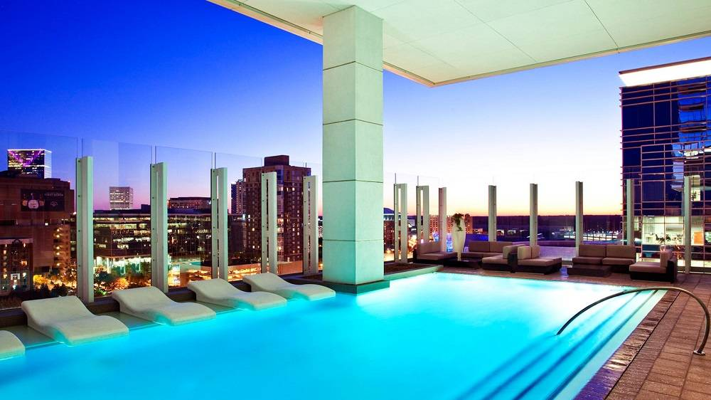 Bask In The Heated Water Of Infinity Pool At W Atlanta Downtown This All Weather Is Partially Covered And Offers One Kind Views