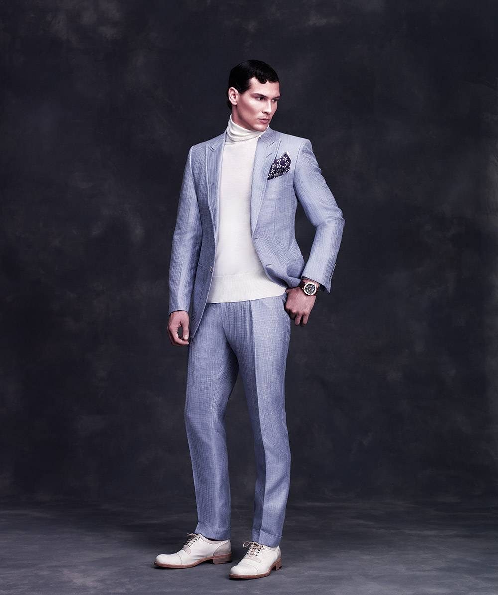 TOM FORD Silk cotton jacket  $4,020 Cotton cashmere turtleneck $990 Silk cotton trousers  $1,240  www.tomford.com BERLUTI Lizard derby shoe  $4,300 www.berluti.com Richard Mille  RM033 $115,000 www.richardmille.com