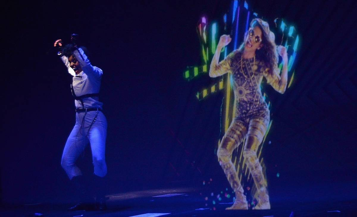 A M.I.A. Hologram Performs with Janelle Monae at the Audi A3 Launch Event in Los Angeles