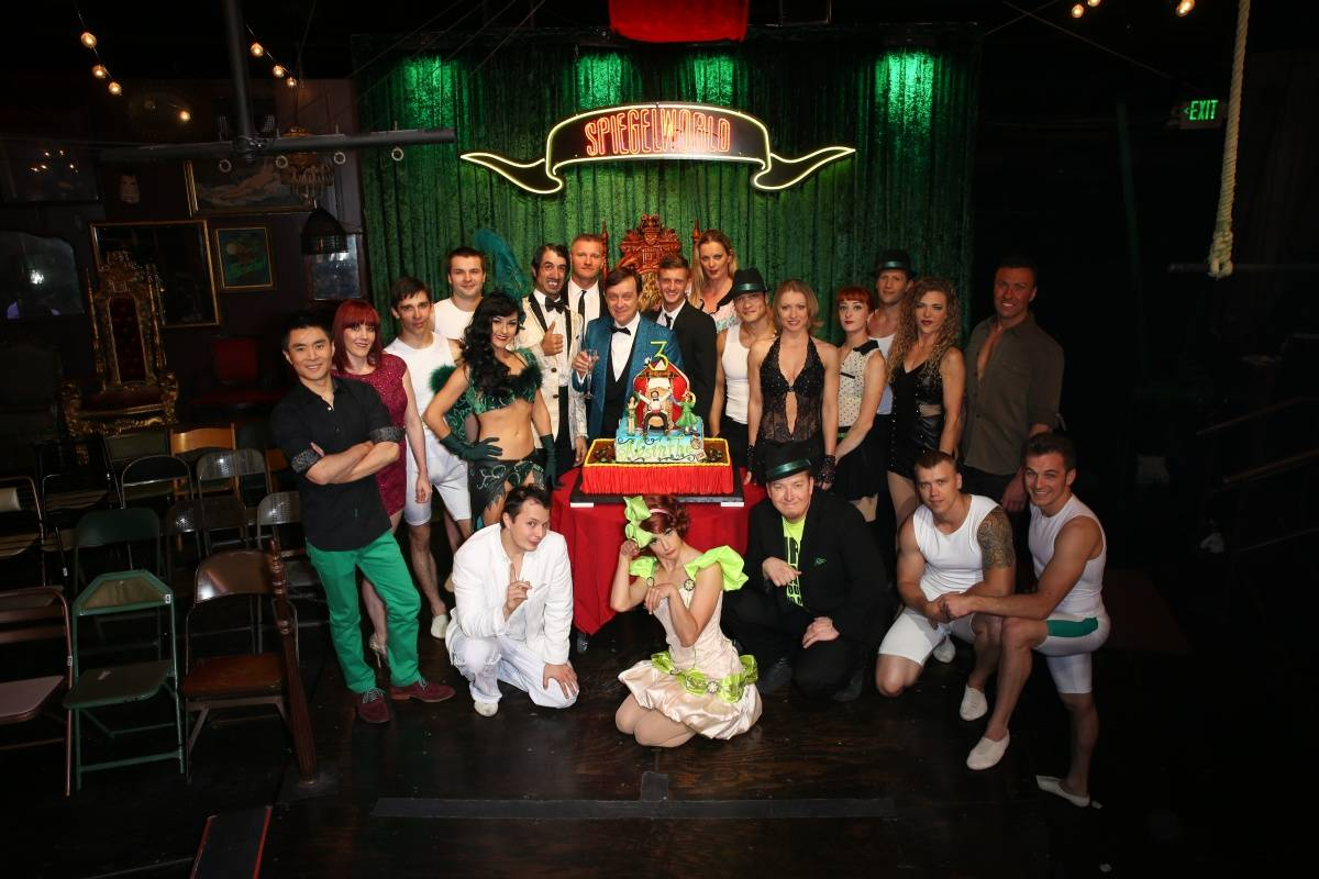 Cast of ABSINTHE with Producer Ross Mollison-ABSINTHE Third Anniversary 4.16.14 (C) Gabe Ginsberg-Vegas Kool