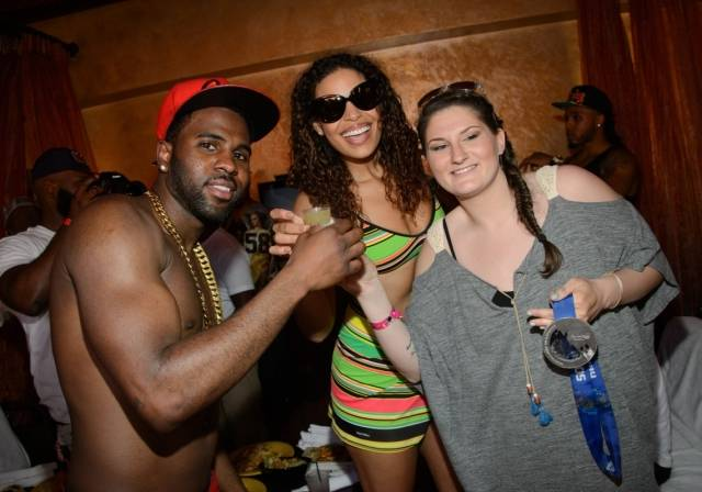 Jason Derulo, Jordin Sparks and Devin Logan take celebratory shots. Photos: Al Powers/Powers Imagery