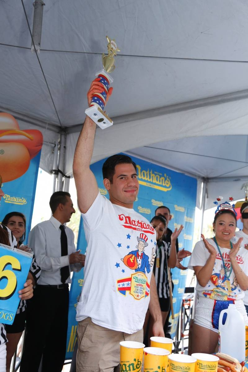 Nathan's Famous Hot Dog Eating Contest - Male Winner Pablo Martinez