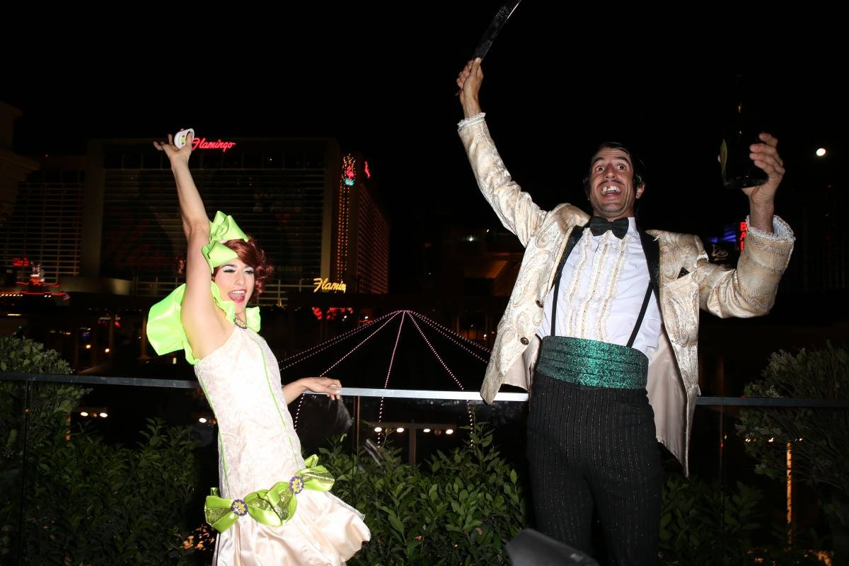 Penny Pibbets and The Gazillionaire Champagne Toast - ABSINTHE Third Anniversary 4.16.14 (C) Gabe Ginsberg-Vegas Kool