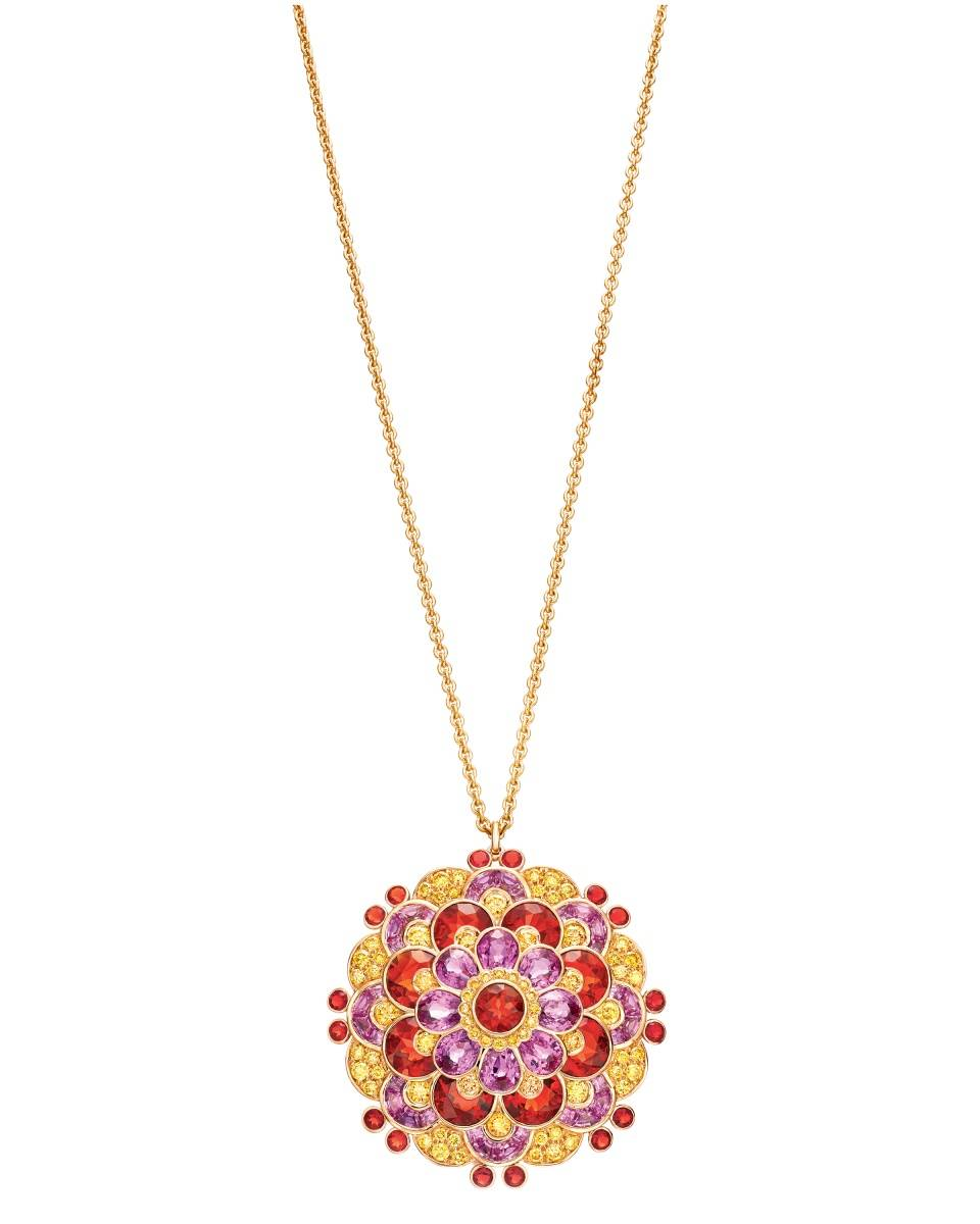 Tiffany archives-inspired pendant with yellow diamonds, pink sapphires, and fire opals in 18 karat gold. $70,000