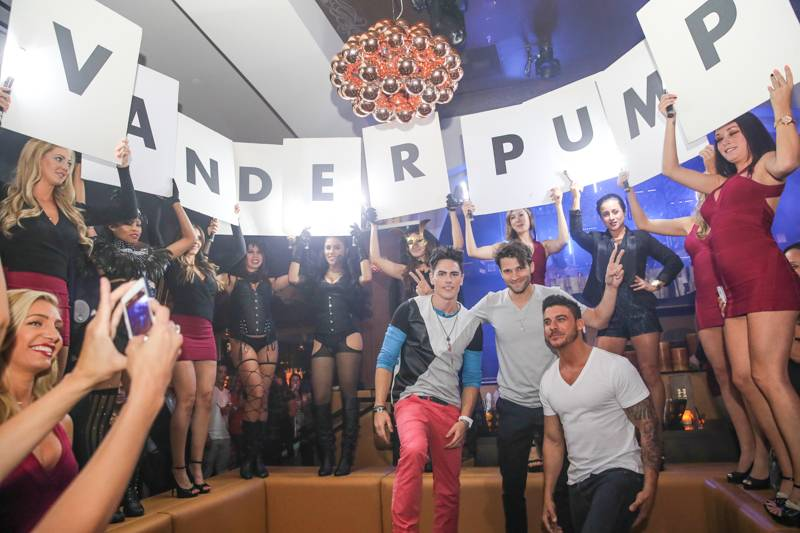 Tom Sandoval, Jax Taylor and Tom Schwartz of Vanderpump Rules party at Hyde Bellagio, Las Vegas, 4.26.14