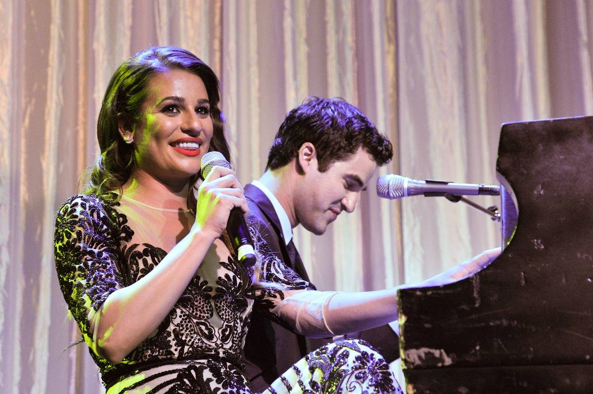 03 lea michele and darren criss performing
