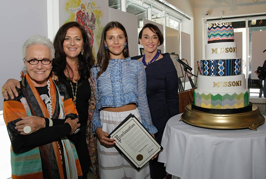 Academy of Art President Dr. Eliza Stephens presents Missonis with Proclaimation of Missoni Day in San Franciso on May 7  Credit: Drew Altizer Photogrpahy