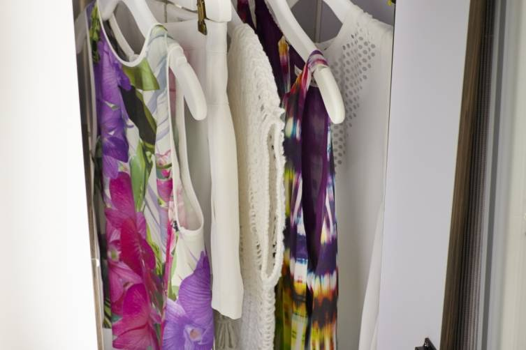 AKA Mobile Suite Closet Filled With Trina Turk Clothing_Rosemarie Top, Fabiana Short, Natty Sweater, Bella Top, Betsy Top