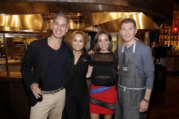 Adam Rapoport, Giada De Laurentiis, Pamela Drucker Mann and Bobby Flay at Master Series Dinner (credit Isaac Brekken for Bon Appetit)