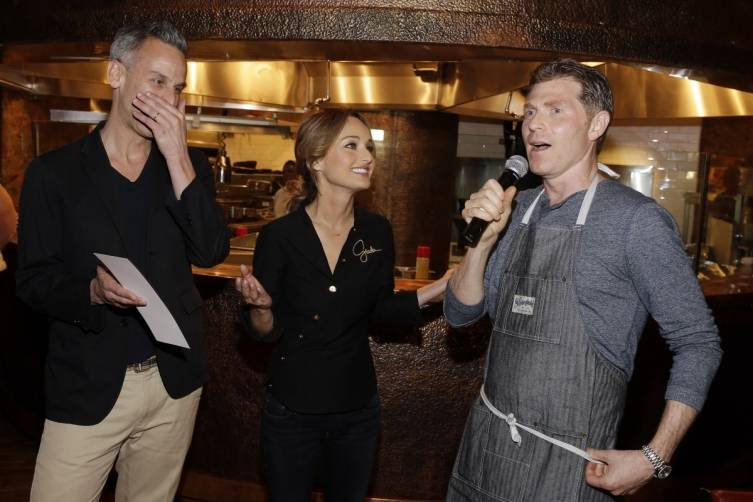 Adam Rapoport, Giada De Laurentiis and Bobbby Flay give remarks before serving delectable dinner (credit Isaac Brekken for Bon Appetit)
