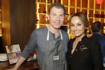 Bobby Flay and Giada De Laurentiis at Mesa Grill for Master Series Dinner (credit Isaac Brekken for Bon Appetit)