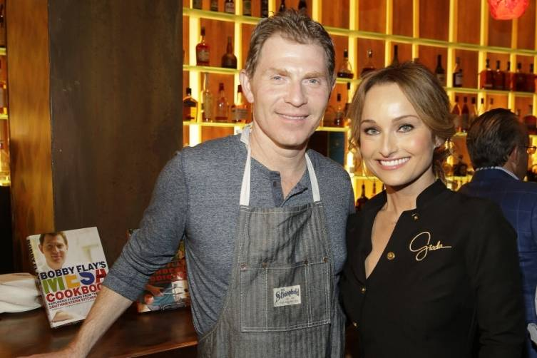 Bobby Flay and Giada De Laurentiis at Mesa Grill for Master Series Dinner (credit Isaac Brekken for Bon Appetit)