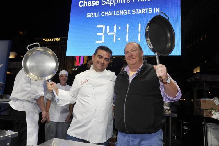 Buddy Valastro and Mario Batali are ready to start cooking at the Chase Sapphire Preferred Grill Challenge (credit Isaac Brekken for Bon Appetit)