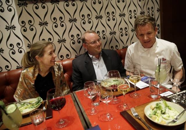 Gordon Ramsay chats with guests at A Scot's Tale Master Series Dinner (credit Isaac Brekken for Bon Appetit)