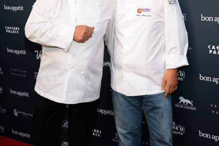 Guy Savoy and Nobu Matsuhisa at The Grand Tasting Red Carpet (credit Ethan Miller for Bon Appetit)