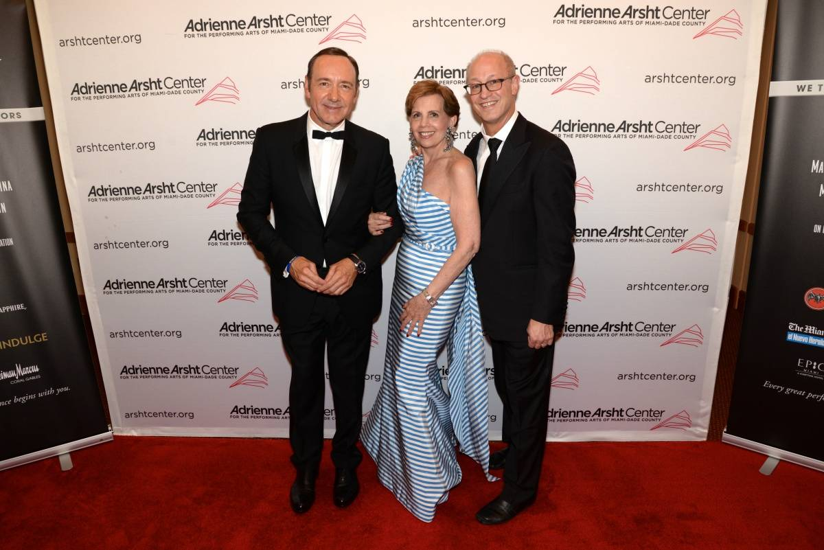 Honorary Chair Adrienne Arsht and Shelly Berg with Kevin Spacey - photo Manny Hernandez