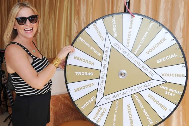 Jessica Capshaw at the Palazzo Wheel at Super Saturday LA